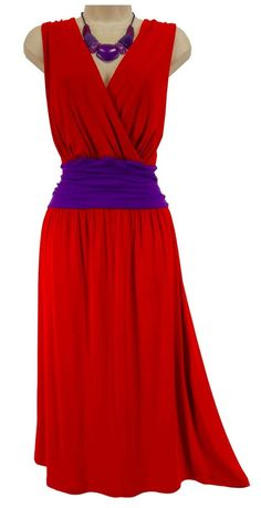 18/20 2X SEXY Women Soft RED/PURPLE RUCHED WAIST DRESS Red Hat Society PLUS SIZE #LaneBryant #RuchedWaist #RedHatSociety
