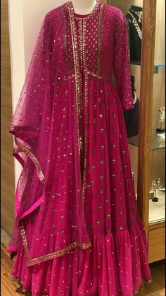Thread & Sequence Floor Length Anarkali with heavy Dupatta.Made on Order.👗Available in all Sizes.Can customize in any color.Shipping all over India⛴.Call or DM 📲for price🎀💐 Indian Gowns Dresses, Pakistani Bridal Dresses, Pakistani Outfits, Indian Outfits, Indian Designer Outfits, Designer Dresses, Party Wear Lehenga, Indian Attire, Indian Wear
