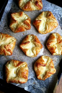"""baked cheese danishes - I Made these this weekend (5/4/13) and they are amazing.  Second batch of """"mini pastries"""" with fresh berries ready to go in the oven today...."""