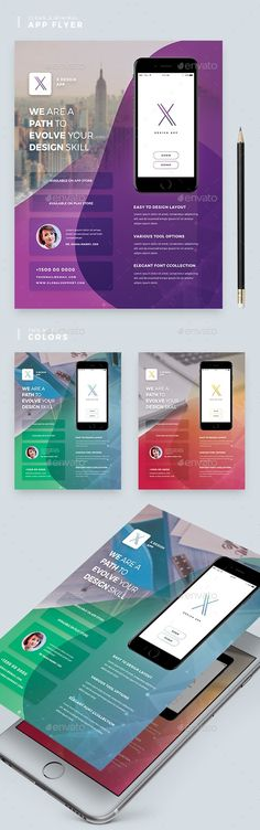 Awesome Color Variations Images are Smart Objects Easy Editable Text CMYK @ 300 DPI ¨C Print-Ready. Perfectly Aligned Organised Layers and Grouped inch Bleed Area and Guideline Help File Included FontsMontserrat Note Used Image is NOT Included in Business Flyer Templates, Flyer Design Templates, Pamphlet Design, Android App Design, Instagram Banner, Art Design, Creative Design, Marketing Flyers, Mobile App Ui