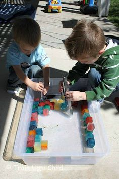 As promised, I had a COLD, rainbow activity planned for JZ and JM. I made ice bricks for the boys to build with. Rainbow Activities, Sensory Activities, Infant Activities, Summer Activities, Sensory Play, Baby Activites, Movement Activities, Colored Ice Cubes, Outdoor Fun For Kids
