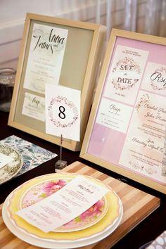Framed Invitations Menues On Plates