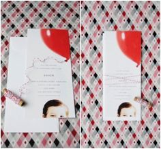 Photo card with balloon and thread