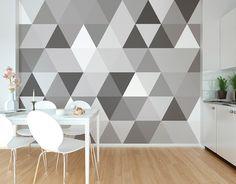 ohpopsi Photo Wallpapers & Ready Made Wall Murals Photo Wallpaper, Wall Wallpaper, Geometric Wallpaper Murals, Adhesive Wallpaper, Wall Patterns, Repeating Patterns, Beautiful Interiors, Wall Murals, Interior Decorating