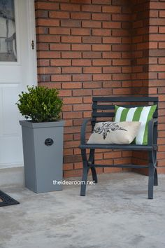DIY Planter for my front porch. Love how easy this is to make!