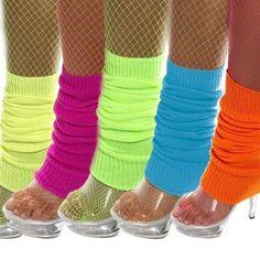 LADIES NEON LEG WARMERS BLUE GREEN ORANGE PINK YELLOW 80s FANCY DRESS LEGWARMERS #Smiffys #Legwarmers