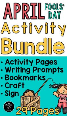 April fools' day activities for elementary/ April fools' day activity pages/ April fools' day writing prompts/ April fools' day/ April fools' day bookmarks/ April fools' day craft/ April fools' day sign April Fools Pranks, April Fools Day, Pranks For Kids, Bookmark Craft, Writing Prompts, The Fool, Elementary Schools, Poems, Student