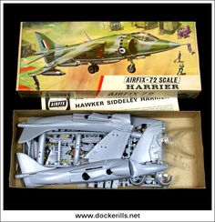 Harrier Aeroplane / Airplane - Vintage Airfix Type 3 (Red Stripe) Box Kit. 1/72 Scale. Photo in DOCKERILLS - VINTAGE AIRFIX REFERENCE - Google Photos
