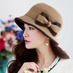 Autumn bow cloche hat for women warm wool winter hats