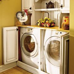 Don't like the country style, but the concept of a bi-fold cabinet type door to hide laundry in a closet.
