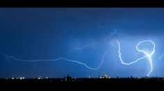 A bolt of lightning above the German town of Munich