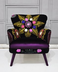 Patchwork armchair with Suzani and velvet by namedesignstudio