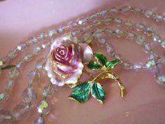 Gorgeous pink rose vintage brooch