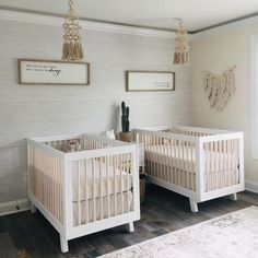 What's Trending in the Nursery this Week: Going Neutral! - Project Nursery What a sweet twin nursery Triplets Nursery, Baby Cribs For Twins, Twin Baby Rooms, Twin Cribs, Girl Nursery Themes, Baby Bedroom, Nursery Decor, Project Nursery, Nursery Ideas