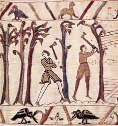 Woodcutters fell trees for building ships on the Bayeux Tapestry. By special permission of the City of Bayeux. Detail of the Bayeux Tapestry, century Bayeux Tapestry, Medieval Tapestry, British History, Art History, Ancient History, Medieval Embroidery, Hand Embroidery, Medieval Drawings, Masonic Symbols