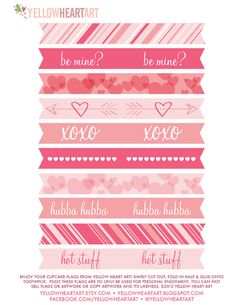 Printable Valentine cupcake flags. Love the softness of the colors.