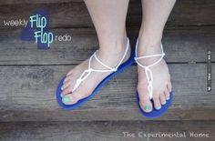 knotted rope flip flop makeover- beach or nautical wedding DIY idea | VIA #WEDDINGPINS.NET