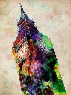 London Big Ben Urban Art Digital Art by Michael Tompsett - London Big Ben Urban Art Fine Art Prints and Posters for Sale Big Ben London, Canvas Art Prints, Canvas Wall Art, Big Canvas, Harrods, Urbane Kunst, London Art, London Clock, Cross Paintings