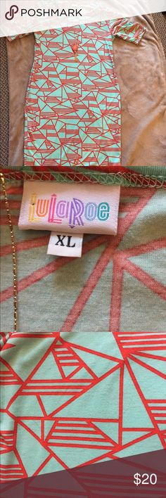 """LuLaRoe Julia Dress Size XL This turquoise with red-orange pattern is a form fitting XL, but probably runs closer to size L! It goes past the knees on me and I am almost 5'10"""". It is very flattering with its geometric pattern! LuLaRoe Dresses"""