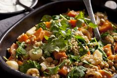 Sweet potato, pumpkin and parsnip with chickpeas and spinach