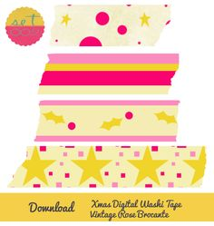 Christmas digital washi tape download. Set 002. Vintage Rose Brocante.