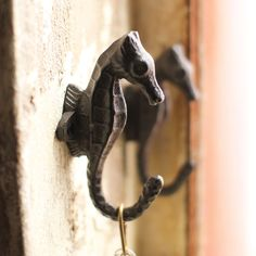 Cast Iron Seahorse Wall Hooks These cast iron seahorse wall hooks bring the ocean into your home naturally. Use it in your bathroom to hang towels or in the entryway for coats, bags, and even keys. The exquisite detailing also makes them a festive decorative accent that can adorn any wall in your home.