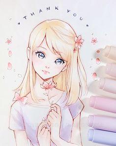 Thank you by ladowska anime in 2019 desenhos de caras, desen Copic Drawings, Anime Drawings Sketches, Anime Sketch, Kawaii Drawings, Manga Drawing, Manga Art, Cute Drawings, Drawing Tips, Copic Marker Art