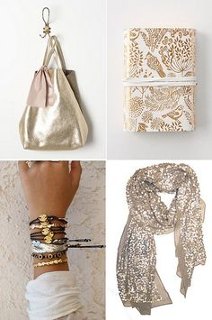 love the understated and feminine handbag (top left) gold & glitter by the style files, via Flickr