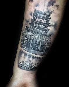 Japanese Temple Outer Forearm Shaded Tattoo Ideas For Guys Back Tattoos, New Tattoos, Sleeve Tattoos, Tattoos For Guys, Tatoos, Japanese Forearm Tattoo, Japanese Temple Tattoo, Criminal Tattoo, Tattoo Shading