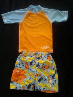 UV Skinz Rash Swim Shirt & Matching Swim Trunks Size 5 Toddler Boys #UVSkinz #SwimSet
