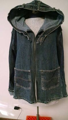 Recycled Denim Hooded Jacket Upcycled Jeans by DianeSladeInc