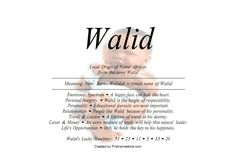Walid name means new born in African - Firstnamestore