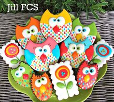 Silly owl and bright flower cookies | Jill FCS