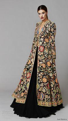 frida couture fashion wish list boho gypsy style jani khosla 2015 bridal evening dress long sleeves embroidered velvet jacket gold Pakistani Dresses, Indian Dresses, Indian Outfits, Indian Anarkali, Pakistani Suits, Western Dresses, Hijab Fashion, Fashion Dresses, Gq Fashion