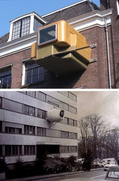 Top, Atelier van Lieshout, Clip-On, 1997. Bottom, Jean-Louis Chanéac, Parasite Bedroom, 1971. Via. See also, Gelitin, The B-Thing, 2000. via fette