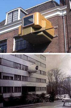 Top, Atelier van Lieshout, Clip-On, 1997. Bottom, Jean-LouisChanéac, Parasite Bedroom, 1971. Via. See also, Gelitin, The B-Thing, 2000. viafette