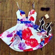 Fit and Flare Women Spaghetti Strap Floral Mini Dress