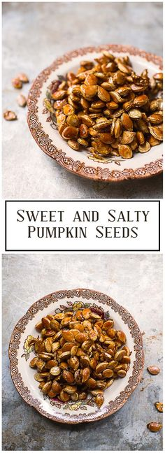 The sweet and salty combination in these Sweet and Salty Pumpkin Seeds makes an addictive and healthy snack!