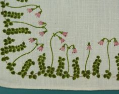 Swedish retro vintage 1960s small printed linen design tablet tabelcloth with conventionalized Swedish Småland Linea flower motive