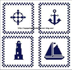 Tableau Marin 2015 Tiny Cross Stitch, Cross Stitch Bookmarks, Cross Stitch Samplers, Cross Stitch Embroidery, Peyote Stitch Patterns, Beading Patterns, Stitching On Paper, Palestinian Embroidery, Crochet Cross