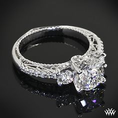 Verragio Beaded Shared-Prong 3 Stone Engagement Ring with a 1.202ct A CUT ABOVE