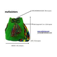 Resultado de imagen de medidas bolso wayuu