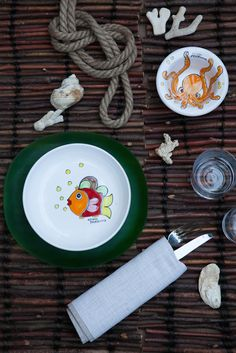 Octo dinner set for a special nautical look. Handmade in Italy