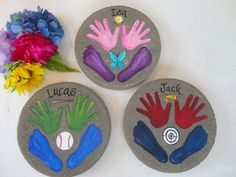 THIS BEAUTIFUL GARDEN STONE WILL MAKE THE PERFECT AND UNIQUE  GIFT FOR Mom and Grandma gifts, Mothers and Fathers Day. Also a special gift  form memorials to remember your loved ones. #pinterest #instagram #mothersday  #handandfootprintstone #handprintsstone #handprintsgardenstone #giftforgrandma  #giftformomfromkids #giftforgrandmafromkids Mother Of The Groom Gifts, Mother And Father, Mom And Grandma, Grandma Gifts, Painted Stepping Stones, Grandmother's Day, Unique Gifts For Mom, Memorial Gifts, Garden Stones