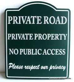 H17111 - Private Road Private Property No Public Access Carved Wooden Sign
