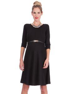 3/4 Sleeve Black Maternity Dress - Baby Bump Fashion - meadoria