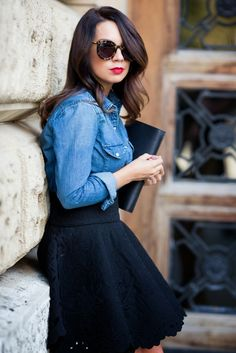 Finally! A skater skirt step without a crop top or tank top. Looooove the skirt with chambray shirt.