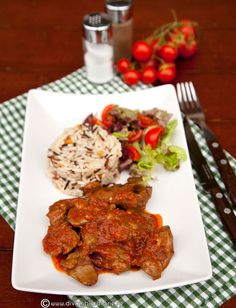 ficatei-de-pui-in-sos-de-rosii-cu-orez Foie Gras, Tandoori Chicken, Ethnic Recipes, Color, Colour, Colors