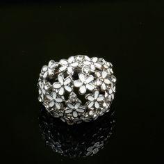 White 8 2015 new trendy delicate full little flowers crystal ring stainless steel finger ring women bague best gift jewelry