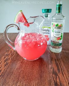 Watermelon & Chill Cocktail- The Most Refreshing Drink of Summer! - My Heavenly Recipes Fruity Drinks, Juice Drinks, Non Alcoholic Drinks, Refreshing Drinks, Watermelon Alcoholic Drinks, Summer Cocktails, Cocktail Drinks, Summer Mixed Drinks, Party Drinks